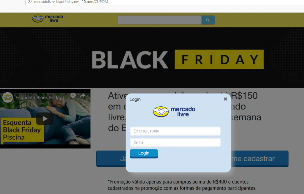 Site falso do Mercado Livre.